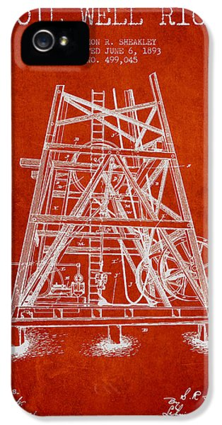 Oil Well Rig Patent From 1893 - Red IPhone 5 Case by Aged Pixel