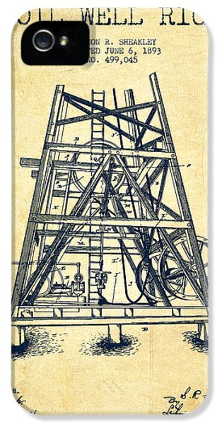 Oil Well Rig Patent From 1893 - Vintage IPhone 5 Case by Aged Pixel