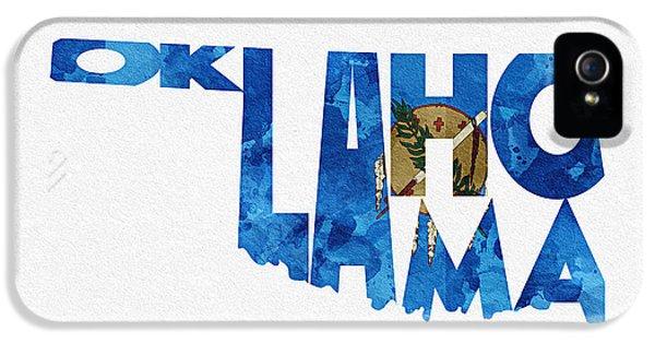 Oklahoma Typographic Map Flag IPhone 5 Case by Ayse Deniz