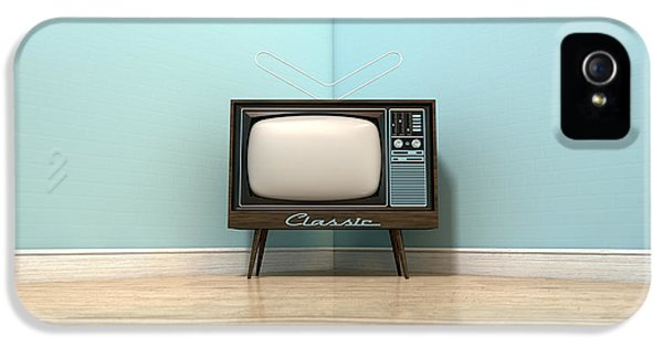Old Classic Television In A Room IPhone 5 Case
