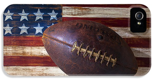 Landmarks iPhone 5 Case - Old Football On American Flag by Garry Gay