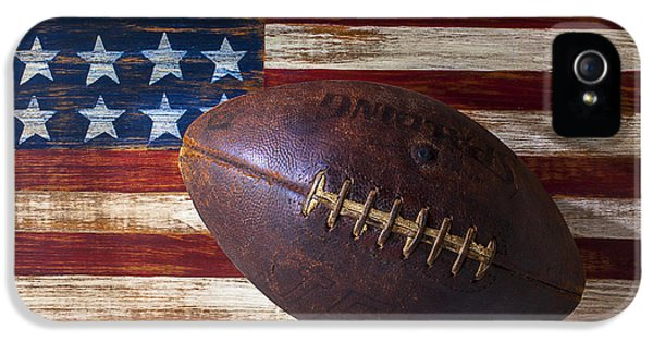 Old Football On American Flag IPhone 5 Case by Garry Gay