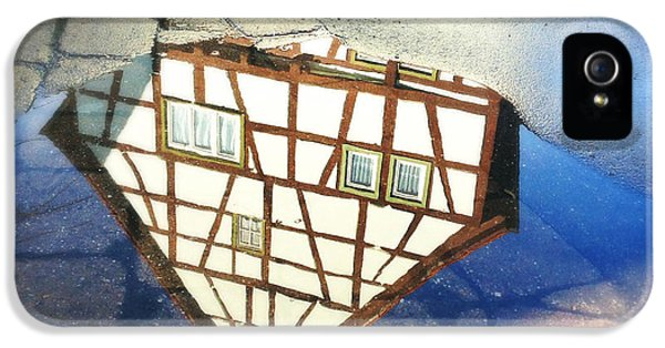 House iPhone 5 Case - Old Half-timber House Upside Down - Water Reflection by Matthias Hauser