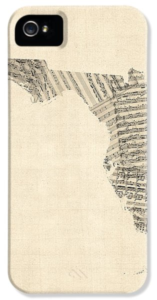 Miami iPhone 5 Case - Old Sheet Music Map Of Florida by Michael Tompsett