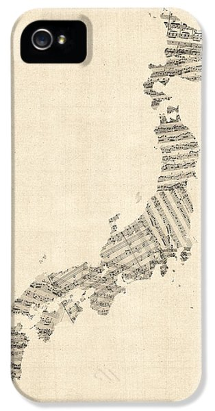 Old Sheet Music Map Of Japan IPhone 5 Case by Michael Tompsett