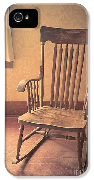 Old Wooden Rocking Chair IPhone 5 Case by Edward Fielding