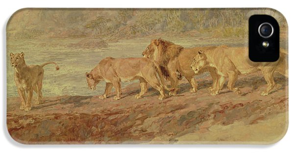 On The Bank Of An African River IPhone 5 Case by Briton Riviere
