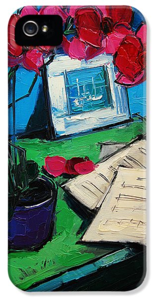 Orchid And Piano Sheets IPhone 5 / 5s Case by Mona Edulesco
