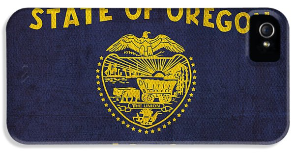Oregon State Flag Art On Worn Canvas IPhone 5 Case by Design Turnpike