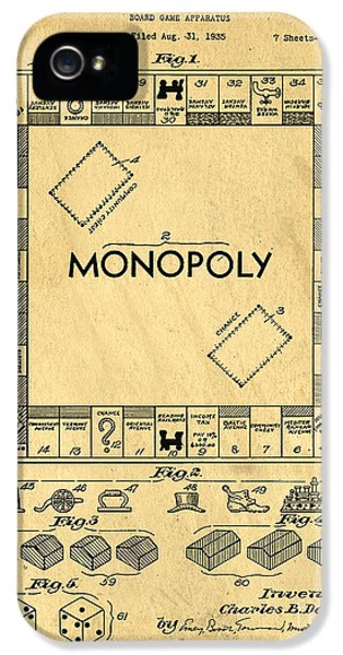 Original Patent For Monopoly Board Game IPhone 5 Case by Edward Fielding