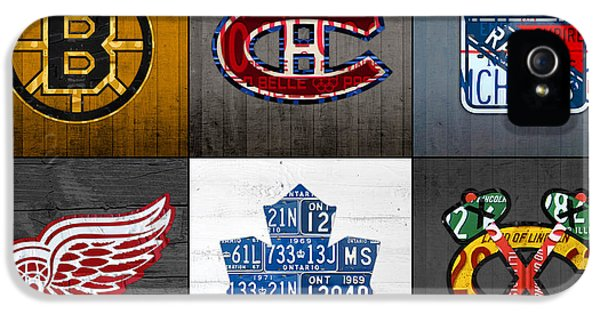 Original Six Hockey Team Retro Logo Vintage Recycled License Plate Art IPhone 5 Case