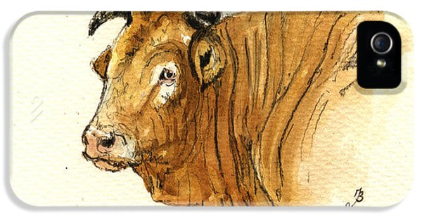 Bull iPhone 5 Case - Ox Head Painting Study by Juan  Bosco