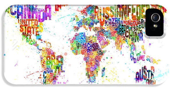Paint Splashes Text Map Of The World IPhone 5 Case by Michael Tompsett
