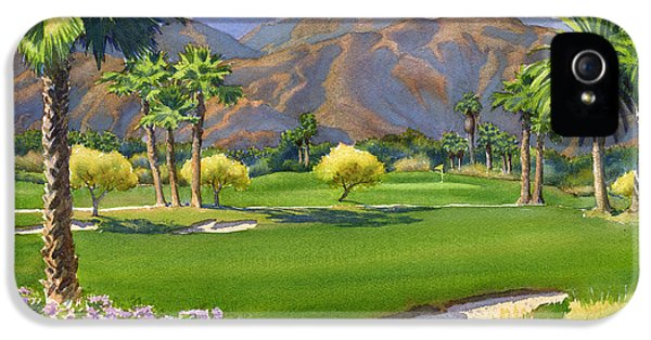 Deserted iPhone 5 Cases - Palm Springs Golf Course with Mt San Jacinto iPhone 5 Case by Mary Helmreich