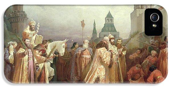 Palm Sunday Procession Under The Reign Of Tsar Alexis Romanov IPhone 5 Case by Viatcheslav Grigorievitch Schwarz