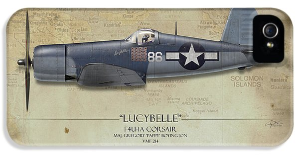 Pappy Boyington F4u Corsair - Map Background IPhone 5 Case by Craig Tinder
