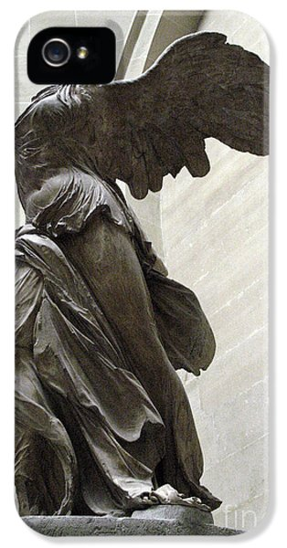 Louvre iPhone 5 Case - Paris Angel Louvre Museum- Winged Victory Of Samothrace by Kathy Fornal