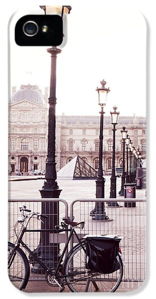 Louvre iPhone 5 Case - Paris Bicycle Louvre Museum - Paris Bicycle Street Lantern - Paris Bicycle Louvre Museum Street Lamp by Kathy Fornal