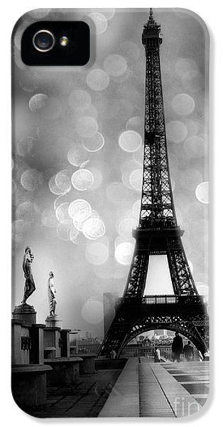 Paris iPhone 5 Case - Paris Eiffel Tower Surreal Black And White Photography - Eiffel Tower Bokeh Surreal Fantasy Night  by Kathy Fornal