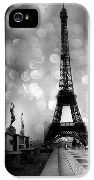 Paris Eiffel Tower Surreal Black And White Photography - Eiffel Tower Bokeh Surreal Fantasy Night  IPhone 5 Case by Kathy Fornal