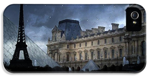 Louvre iPhone 5 Case - Paris Eiffel Tower With Louvre Museum Montage Photo Painting - Paris Architecture And Landmarks  by Kathy Fornal