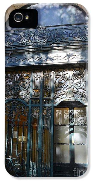 Paris Guerlain Storefront Boutique - Paris Guerlain Blue Door Art Nouveau Art Deco Door IPhone 5 Case by Kathy Fornal