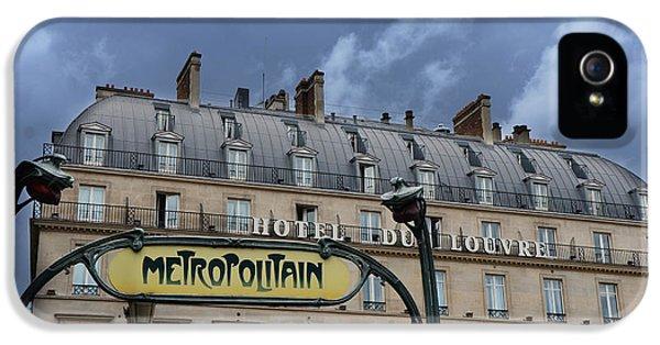 Paris Metropolitain Sign At The Paris Hotel Du Louvre Metropolitain Sign Art Noueveau Art Deco IPhone 5 Case by Kathy Fornal