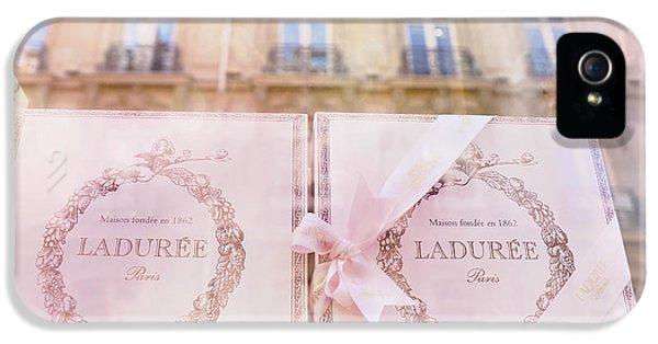 Paris Laduree Pink Boxes Wndow Display - Paris Laduree Macaron Shop Dreamy Pink Boxes Art IPhone 5 Case by Kathy Fornal