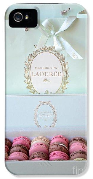 Paris Laduree Macarons - Dreamy Laduree Box Of French Macarons With Laduree Bag  IPhone 5 Case by Kathy Fornal