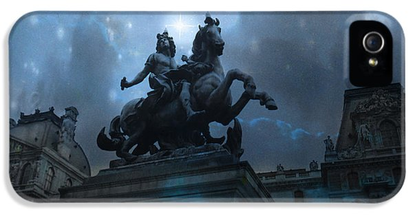 Paris Louvre Museum Blue Starry Night - King Louis Xiv Monument At Louvre Museum IPhone 5 / 5s Case by Kathy Fornal
