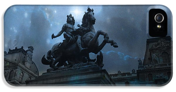 Louvre iPhone 5 Case - Paris Louvre Museum Blue Starry Night - King Louis Xiv Monument At Louvre Museum by Kathy Fornal