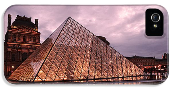 Louvre iPhone 5 Case - Paris Louvre Museum Dusk Twilight Night Lights - Louvre Pyramid Triangle Night Lights Architecture  by Kathy Fornal