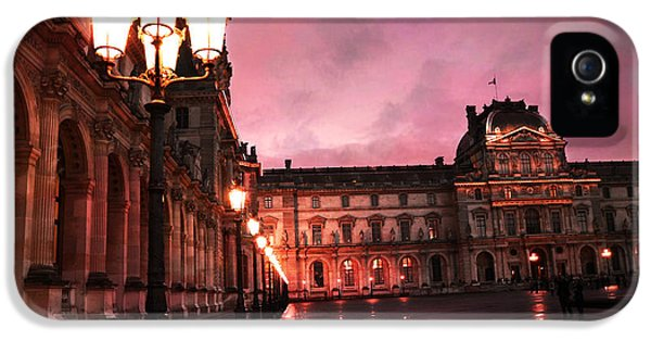 Louvre iPhone 5 Case - Paris Louvre Museum Night Architecture Street Lamps - Paris Louvre Museum Lanterns Night Lights by Kathy Fornal