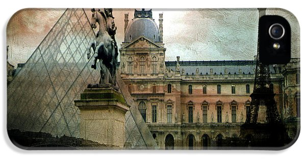 Louvre iPhone 5 Case - Paris Louvre Museum Pyramid Architecture - Eiffel Tower Photo Montage Of Paris Landmarks by Kathy Fornal