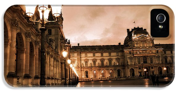 Louvre iPhone 5 Case - Paris Louvre Museum Sepia Night Lights Street Lamps - Paris Sepia Louvre Museum Night Photography by Kathy Fornal