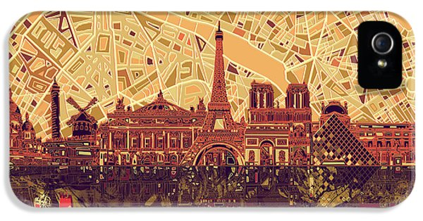 Paris Skyline Abstract Sepia IPhone 5 Case