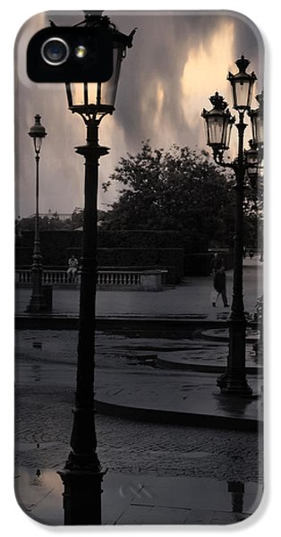 Paris Surreal Louvre Museum Street Lanterns Lamps - Paris Gothic Street Lamps Black Clouds IPhone 5 / 5s Case by Kathy Fornal