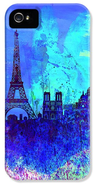 Paris Watercolor Skyline IPhone 5 Case by Naxart Studio