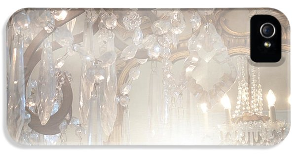 Paris Dreamy White Gold Ghostly Crystal Chandelier Mirrored Reflection - Paris Crystal Chandeliers IPhone 5 Case