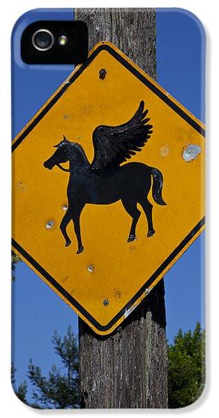 Pegasus iPhone 5 Case - Pegasus Road Sign by Garry Gay