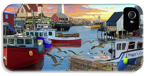 IPhone 5 Case featuring the drawing Peggys Cove by David M ( Maclean )