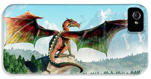 Dungeon iPhone 5 Case - Perched Dragon by Daniel Eskridge
