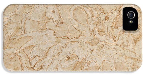 Pegasus iPhone 5 Case - Perseus Rescuing Andromeda Red Chalk On Paper by or Zuccaro, Federico Zuccari