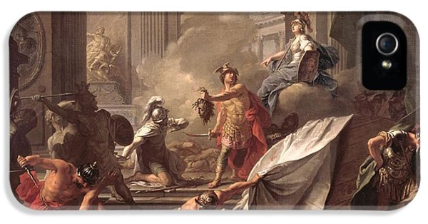 Perseus, Under The Protection Of Minerva, Turns Phineus To Stone By Brandishing The Head Of Medusa IPhone 5 Case by Jean-Marc Nattier