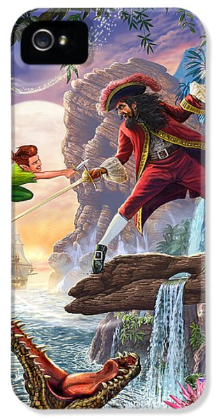 Crocodile iPhone 5 Case - Peter Pan And Captain Hook by Steve Crisp
