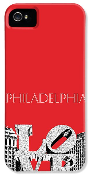 Philadelphia Skyline Love Park - Red IPhone 5 / 5s Case by DB Artist