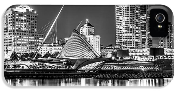 Picture Of Milwaukee Skyline At Night In Black And White IPhone 5 Case by Paul Velgos