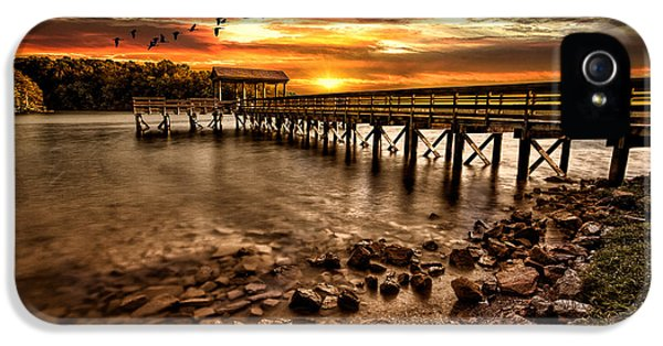 Pier At Smith Mountain Lake IPhone 5 Case by Joshua Minso