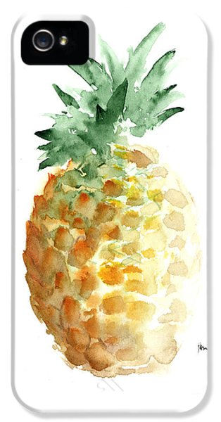 Pineapple Art Print Watercolor Painting IPhone 5 Case by Joanna Szmerdt