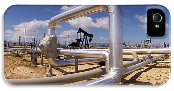 Pipelines On A Landscape, Taft, Kern IPhone 5 Case by Panoramic Images